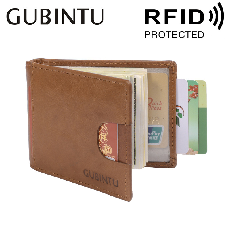 GUBINTU Genuine Cow Leather Money Clip Wallet Men Slip Metal Short Wallets Slim Credit Card Clutch Wallet Small Dollsr Purse Bag maibomengnuo authentic crocodile skin wallet belly belly fashionable contracted men thin money clip upright money