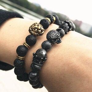 Мужские браслеты с черепом CZ, Индийский Лабрадорит, 8 мм, натуральный камень, легкие бусы, европейский браслет Будды для мужчин, браслеты ручной работы