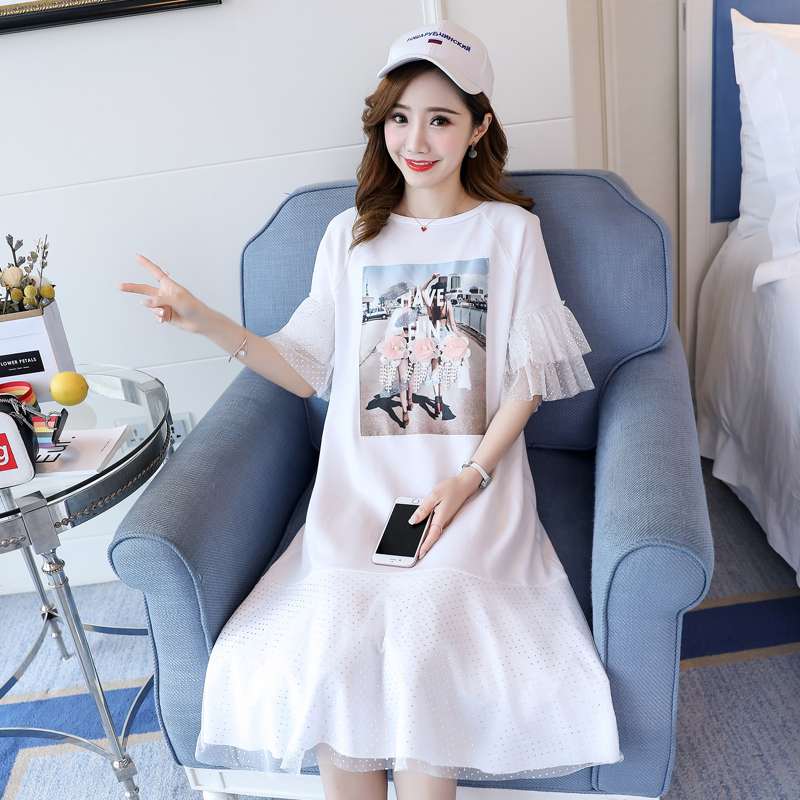 Casual Pattern Printing Maternity Clothes 2018 Pregnancy Dress Mesh Fashion Cotton Pregnancy Clothing Of Pregnant Women