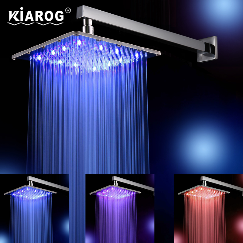 10 Inch Led Shower Head With Shower Arm. Chuveiro Led.25 CM * 25 CM Water Power. Bathroom 3 Colors Change Led Showerhead.