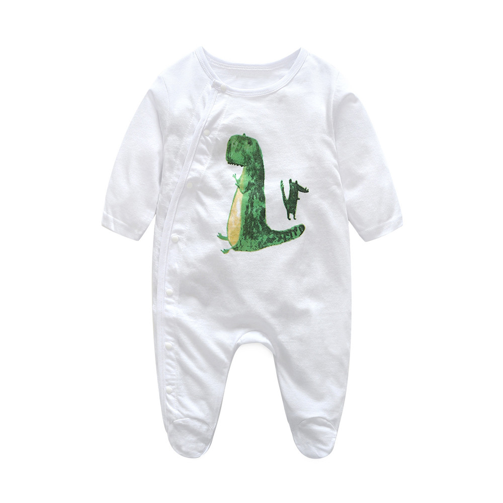 Baby Cartoon Dinosaur Rompers Cute Infant Newborn Boys Girls Long Sleeve Clothes Soft Jumpsuits Toddler Costumes 17Nov30 newborn baby girls rompers 100% cotton long sleeve angel wings leisure body suit clothing toddler jumpsuit infant boys clothes