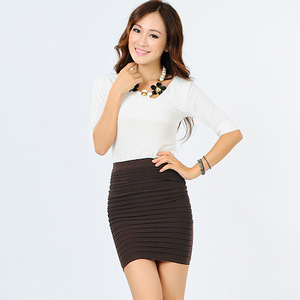 Image 2 - Summer new half Fashion skirt candy color Elastic concise Bodycon Solid Color Pleated short skirt for Party Gift D3063