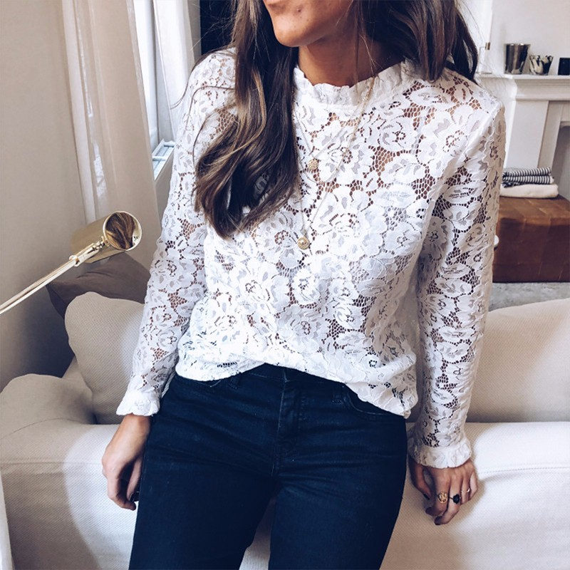DeRuiLaDy 2019 Women Sexy Lace Hollow Out   Blouse     Shirt   Elegant Flare Long Sleeve Perspective Black White   Blouses   Casual Tops