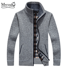 Mwxsd brand winter men's wool Cardigan sweaters men warm fleece zipper cotton sweater agasalho masculino male woolen Knitwear