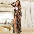 Sexy Largo Maxi Vestido de Noche Escarpado Transparente Camisón de Encaje Bata Camisón ropa de Dormir Ropa Interior para mujeres