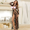Sexy Longo Maxi Vestido de Noite Sheer Transparente Robe de Renda Camisola Nightie Sleepwear Lingerie para as mulheres
