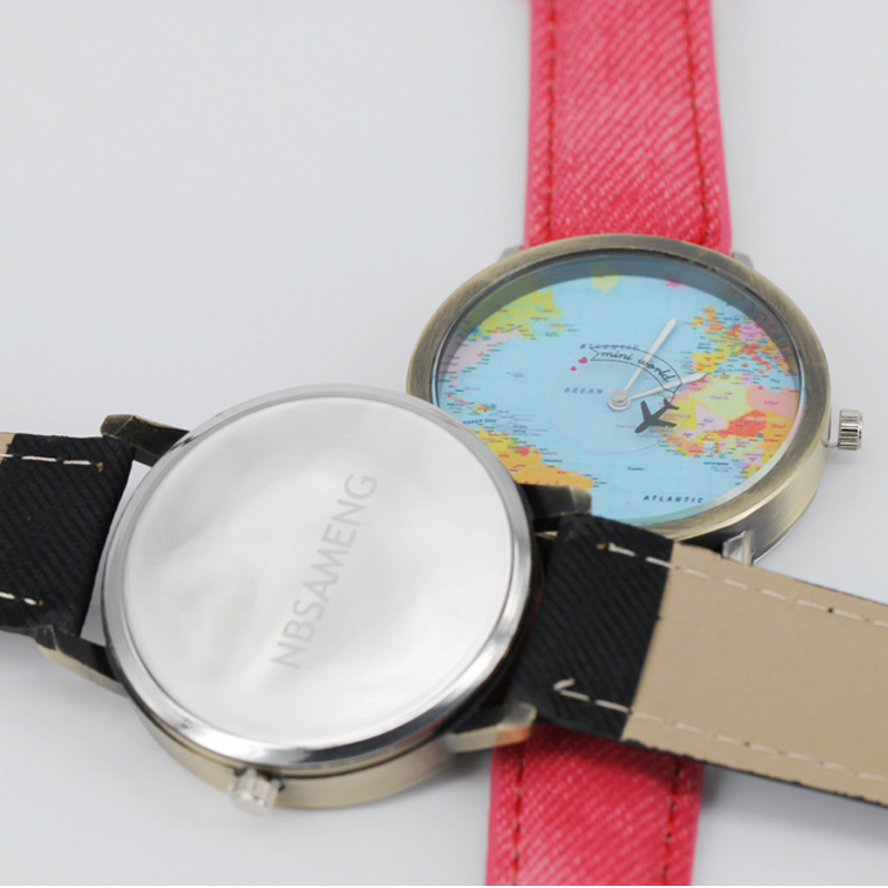 47124d0bd2f Mulheres Relógios Mapa do Mundo Relógio de Design Denim dos Homens para
