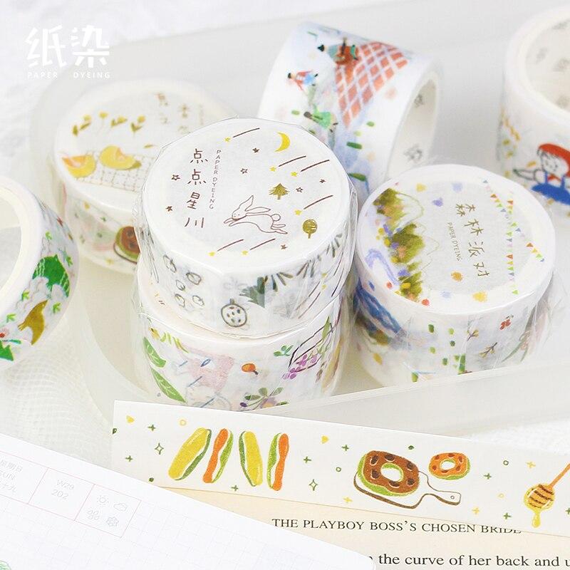 Summer Picnic Japanese Washi Tapes Decorative Adhesive Diy Masking Paper Tape Label Sticker For Gift