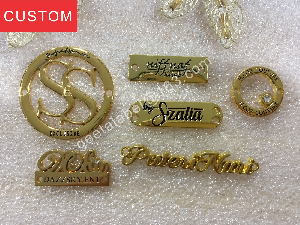 Personalize Clothes Bag Shoes Jeans Accessories Customized Metal Label Zinc Alloy Tag Engraved Patch