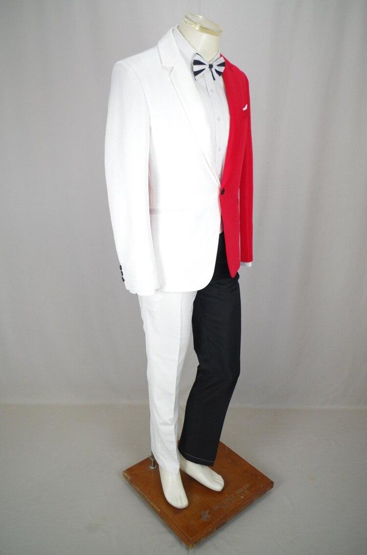 Nouveau rouge et blanc correspondant hommes Blazers costumes hommes chanteurs costume boîtes de nuit marées hip hop Rock personnalisé bal costumes S-4XL
