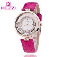 KEZZI Fashion Luxury Brand Watch Women Crystal Watch Leather Quartz Wristwatch Lady Dress Clocks Reloj Mujer