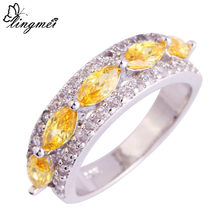 lingmei Big Promotion Wholesale Dazzling Marquise Cut Gold White CZ Silver Color Ring Size 6 7 8 9 10 11 Women Fashion Jewelry(China)