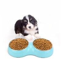 Новая мода Pet Кормление рыб и водные принадлежности чаша Сталь Карамельный цвет двойной рот собака чаша для малых и средних собак домашних ж...