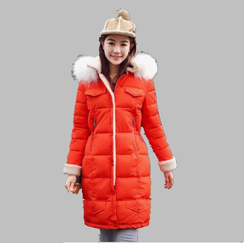 2016 Women Winter Hooded Fur Collar Medium long Cotton Down Jacket Thicken Keep warm Big yards