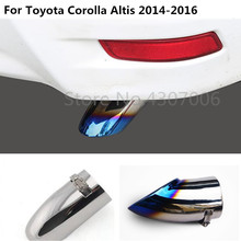 car styling cover muffler exterior end pipe dedicate outlet exhaust tip tail 1pcs For toyota Corolla Altis 2014 2015 2016 for toyota corolla altis led tail light 2011 2012 year smoke black color yzv2