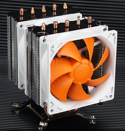 For AMD Intel CPU 5 copper heat pipe quiet towers dual Cooling fans radiator supports 775/1150/1155/1156/1366 AM2 AM3 FM2 jaguar 1155 1150 1366 1u server cpu heatsink copper dual ball bearing cooling fan