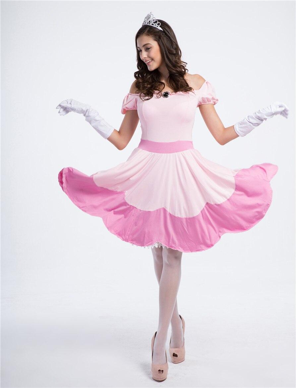 halloween pink peach princess super mario costume women for adults