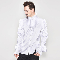 Retro Men's White Shirts Vintage Style Lack Neck Flare Sleeves Single Breasted Male Party Elegant Wearing Tops