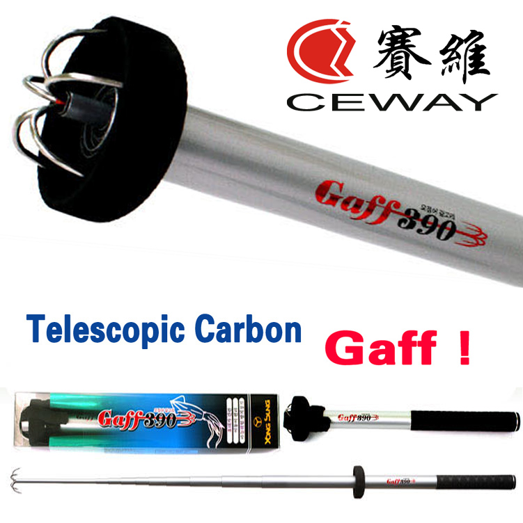 Telescopic Squid Fishing Gaff Carbon Octopus Gaffs Terminal Балық Рычактар ​​Құрал-саймандар Аксессуарлар Копейфиш Лифтинг Крюков 3м 3.9м