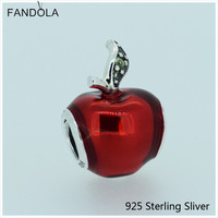 Compatible with Pandora Bracelets 100% 925 Sterling Silver Jewelry Snow White Apple Red Enamel Dark Green Charms CKK