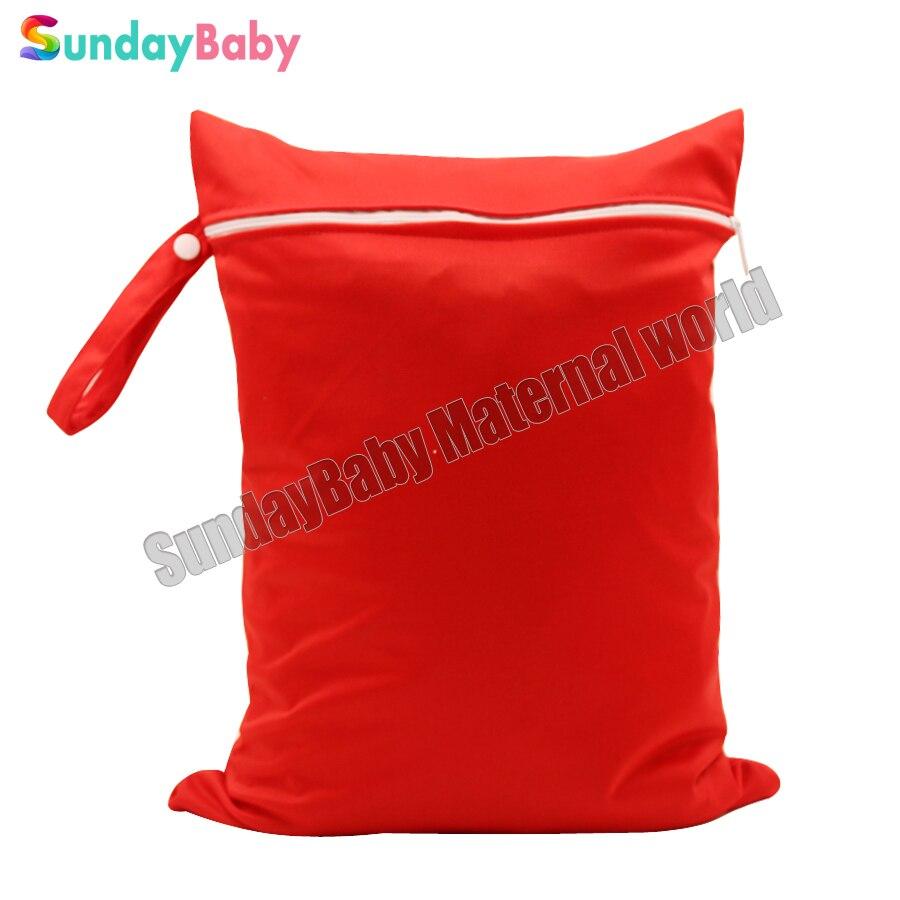 30 40cm 1 pc single pocket wet bag solid color cloth diaper bag mom bag with
