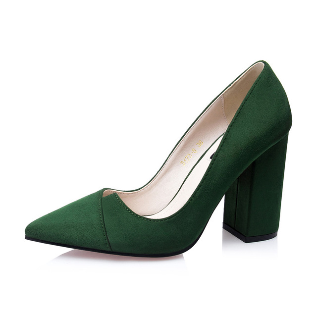 Fashion Women's Shoes Square Heel Nubuck Leather High Heels Show Thin Pumps Pointed Toe Women Pumps Classic High Heels Shoes