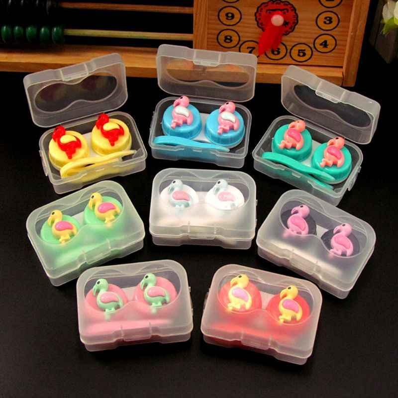 1 Set Contact Lens Box Cartoon Bird Cute Candy Color Girls Case Container Glasses Mini Portable Travel Organizer