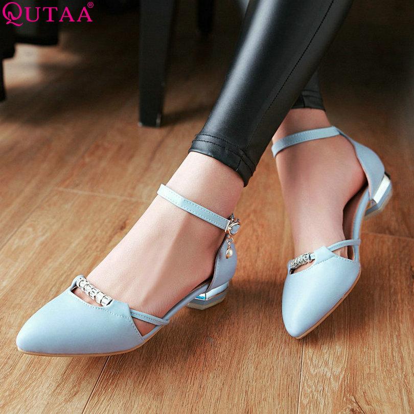 ФОТО QUTAA 2017 Women Pumps Summer Ladies Shoe Pointed Toe Square Low Heel PU Leather Rhinestone Woman Wedding Shoes Size 34-43