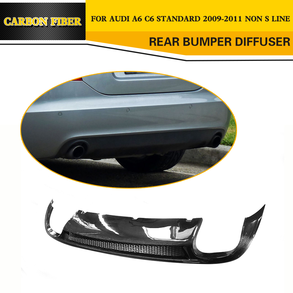 цена на Carbon Fiber rear bumper lip spoiler diffuser for Audi A6 C6 Standard Sedan 4 Door 2009 2010 2011 Black PU