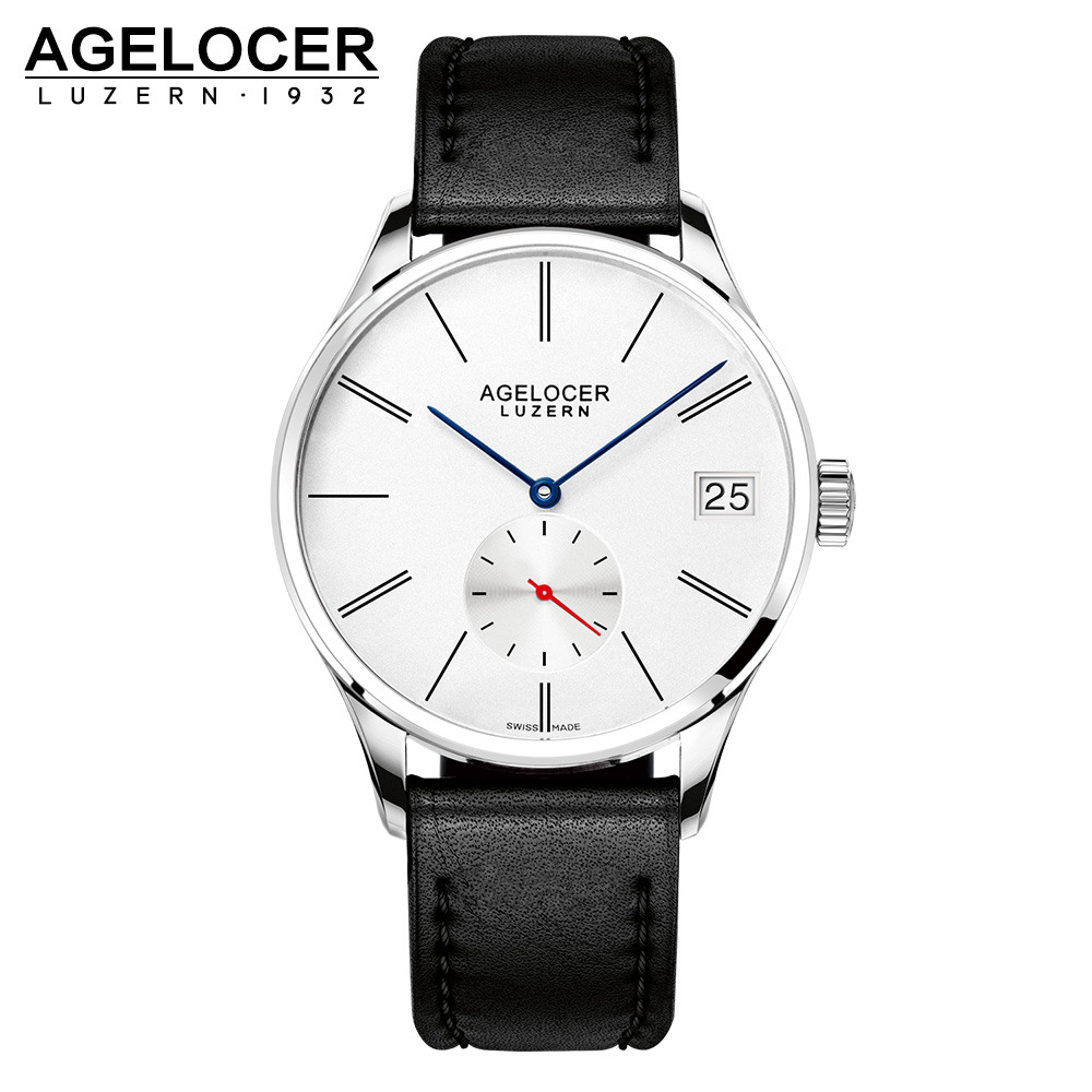 Agelocer Original Sport Swizerland Luzern Fashion Casual Watch With Big Date Window France Genuine Leather Strap Watch For Men [zob] original original of france lc1d50 220v 80a genuine original ac contactor 2pcs lot