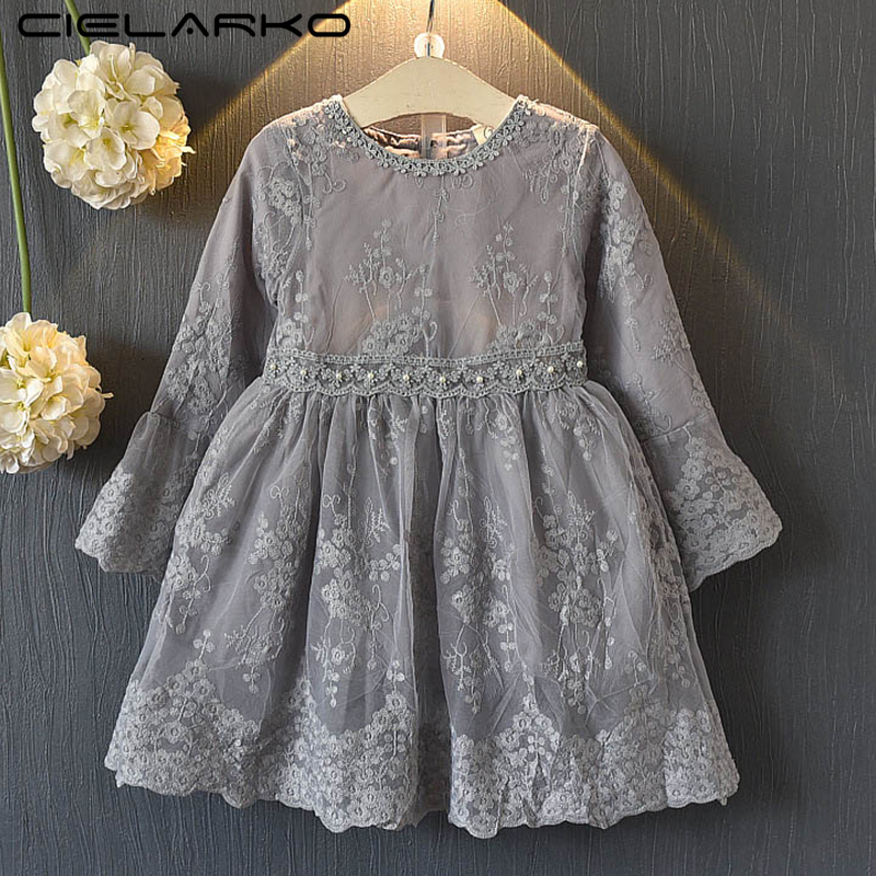 Cielarko Girls Lace Dress Long Sleeve Princess Grey Kids Party Dresses Children Floral Fancy Frocks Vintage Autumn Baby Clothing 2018 spring autumn black long dresses full sleeve empire floral print patchwork vintage designer maxi women dress clothing xxl