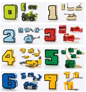 Image 3 - Gudi 15pcs Transform Number Robot Deformation Plane Car Kids Toys Finger cube Educational Action Figures Building Blocks Model