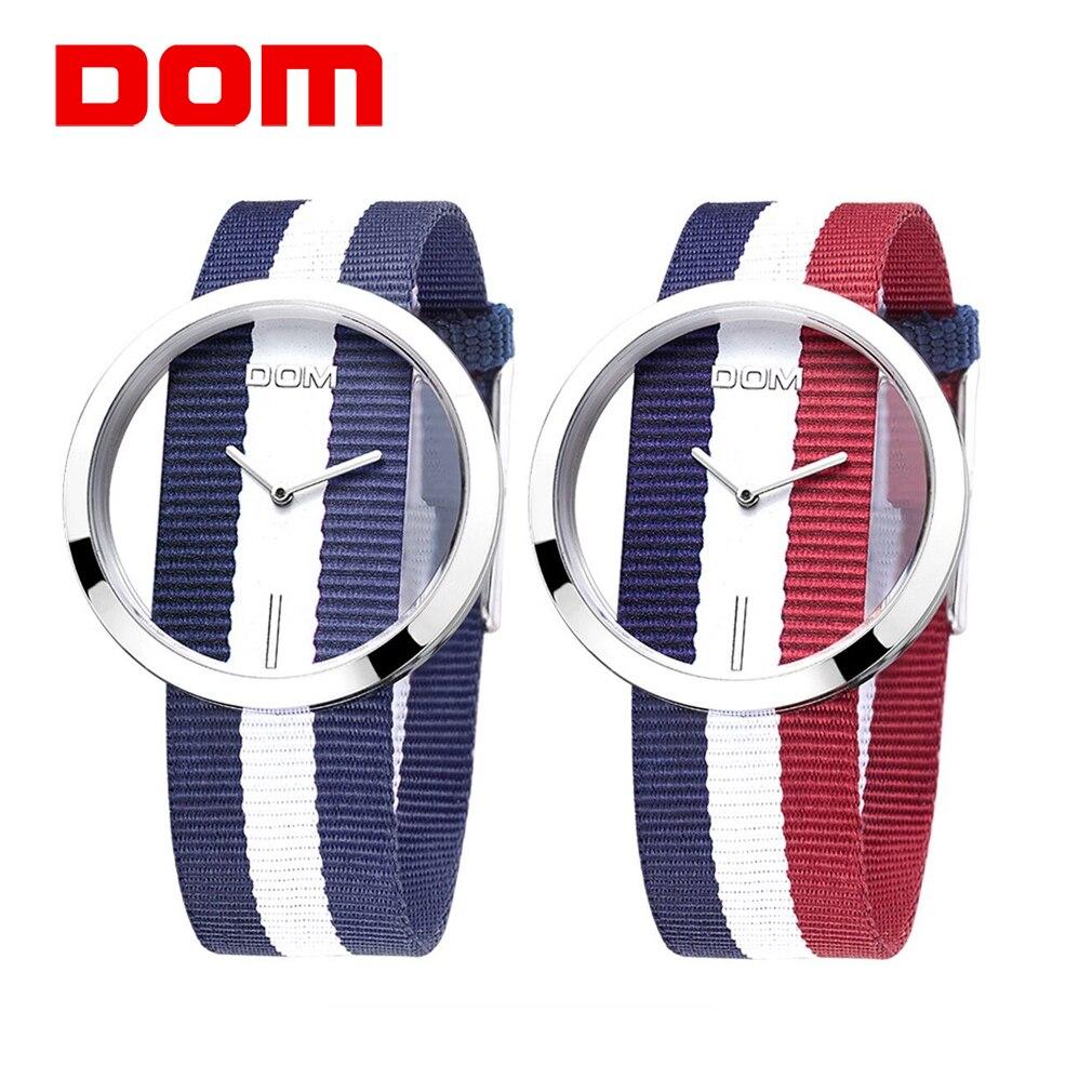 DOM 2 Fashion Colors Brand Women Watch Luxury Casual Quartz Waterproof Watches Hollow Skeleton Nylon Sport