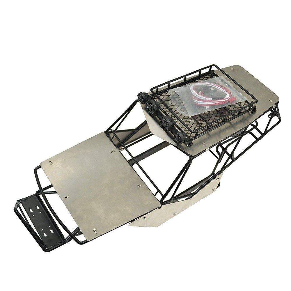 Haute qualité 1:10 Rc chenille métal rouleau Cage Tube châssis avec galerie de toit ensemble pour 1/10 Axial Wraith