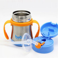 Feeding Bottles 200ml Water Cups Baby Drinking Straw Glass Squeeze Feeder Nursing Refillable Carrying Handles Stainless