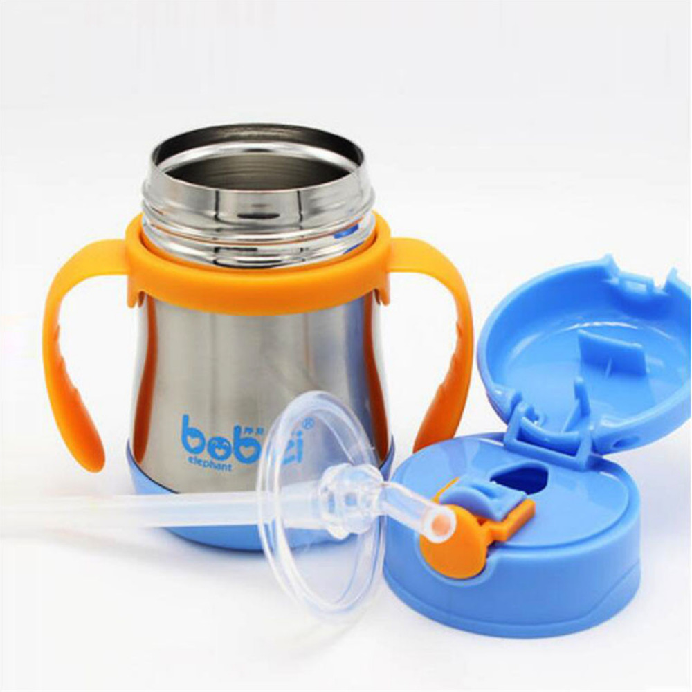 Feeding Bottles 200ml water cups baby drinking straw glass squeeze feeder nursing Refillable carrying handles stainless steel leakage proof straw cap for drinking bottles 2 7cm random color
