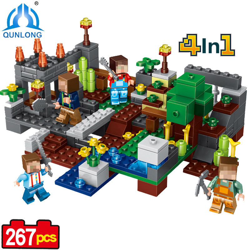 267pcs 4 in1 Town Group Minecraft Figures Building Blocks Compatible Legoed Minecraft City Steve Alex Skeleton Enlighten Bricks ...