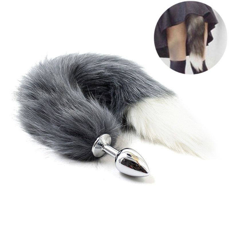 Sex Toys For Women Soft Fur Fox Tail Anal Plug Stainless Steel Metal Butt Plug For Adults Fetish Animal Cosplay Games