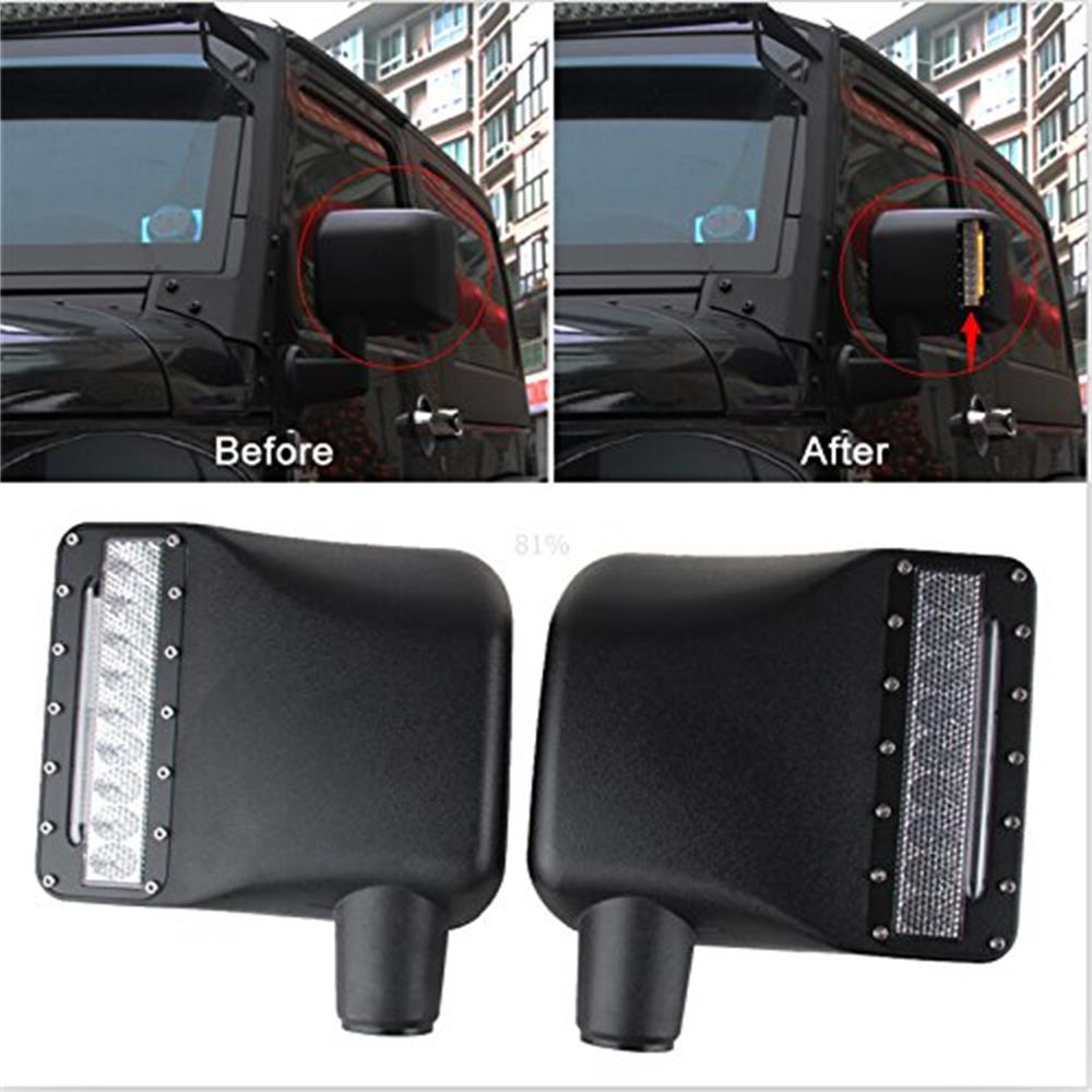 2 X Wrangler JK LED Off Road Rearview Mirror Upgrade with Turn Signal Lights / DRL / Side Mirror Lights Side Mirror Light Lamp last designed high quality side view mirror cover with led turn signal light for jeep wrangler jk