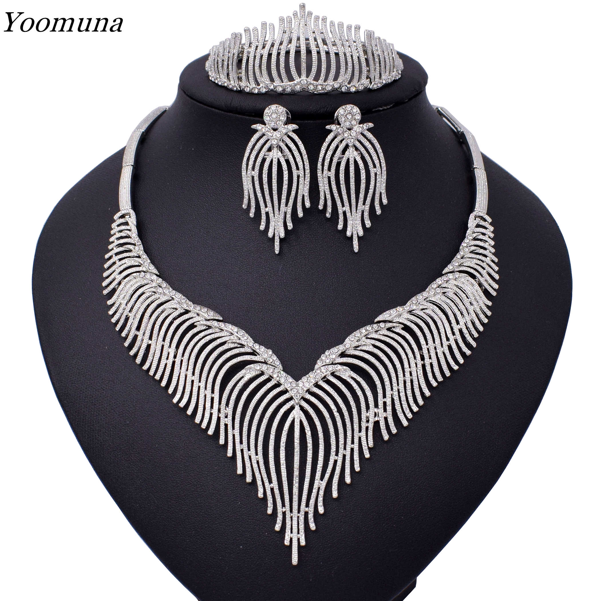 Luxury silver Jewelry sets For Women Wedding Cubic Zirconia Flower African Beads Jewelry Sets Indian bridal jewelry set 2019