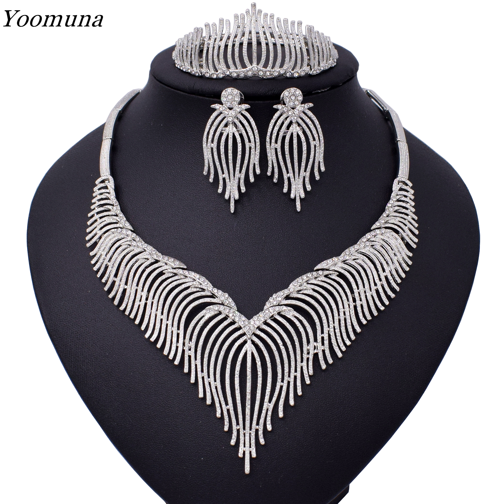 Luxury silver Jewelry sets For Women Wedding Cubic Zirconia Flower African Beads Jewelry Sets <font><b>Indian</b></font> bridal jewelry set 2019 image
