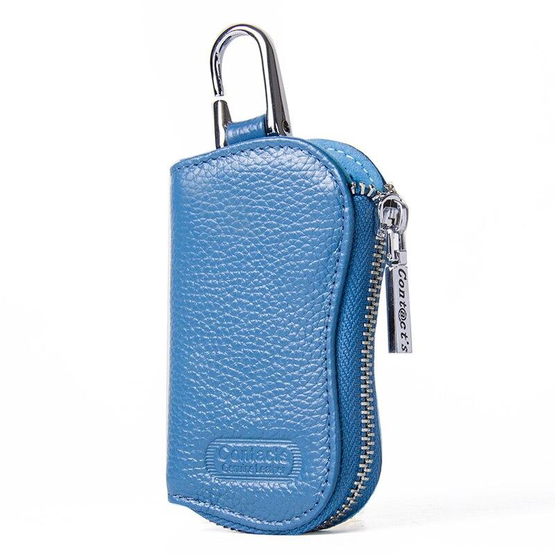 CONTACT'S Cow Leather Keys Wallets For Men Mini Key Holder Women Fashion Key Purse Small Housekeeper Card Key Holders Keychain 2