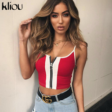 bdb8f792202cea Kliou 2018 New Fashion Red White Patchwork Zipper Fly Women Crop Tops  Cotton Casual Knitted Tank