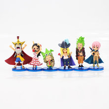 6pcs/lot 8cm One Piece Dressrosa Mini Luffy Chopper Viola Rebecca Leo Q version PVC Figure Collection Model Toy Doll Kids Gift(China)