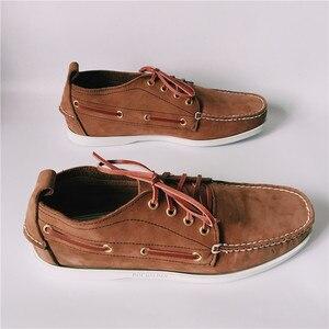 Image 3 - Erkekler Üst Deri Rahat Daireler Lace Up Moda sürüş ayakkabısı Adam Vintage Bot Ayakkabı Chaussure Homme Size46 Zapatos Hombre Ayakkabı
