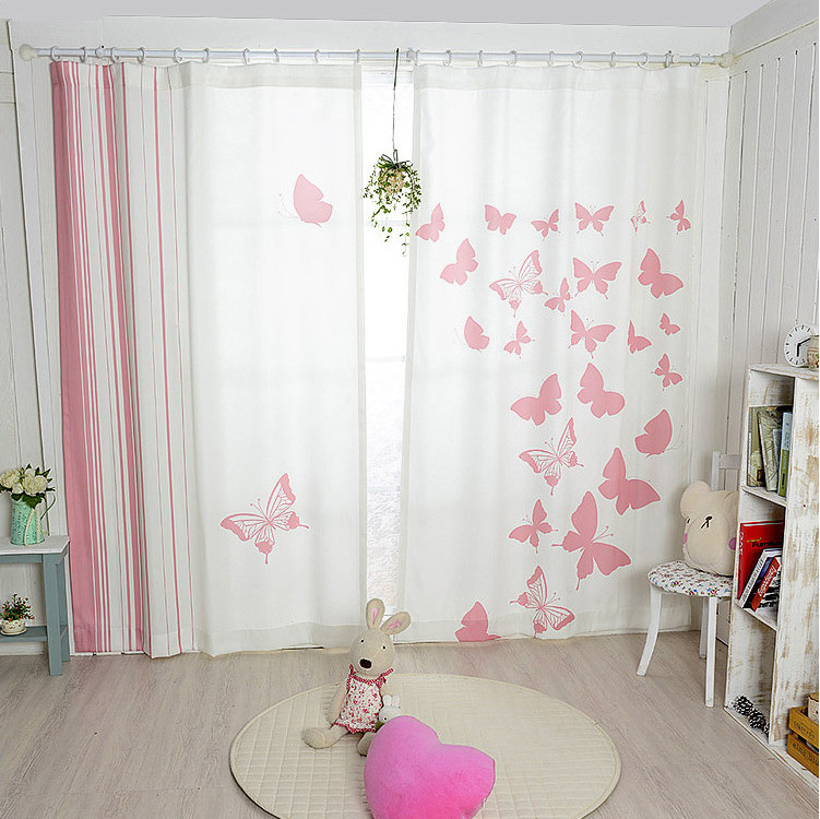 New korean pink butterfly blackout curtains finished - Childrens bedroom blackout curtains ...