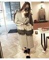 Высокое качество 100% натурального меха фокс карманы свободные негабаритных длинный кардиган вязаный свитер женщины серый пончо пальто 2016 осень зима