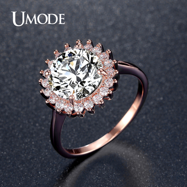 umode flower shaped 387ct big stone halo engagement rings for women rose gold color wedding - Rose Shaped Wedding Ring