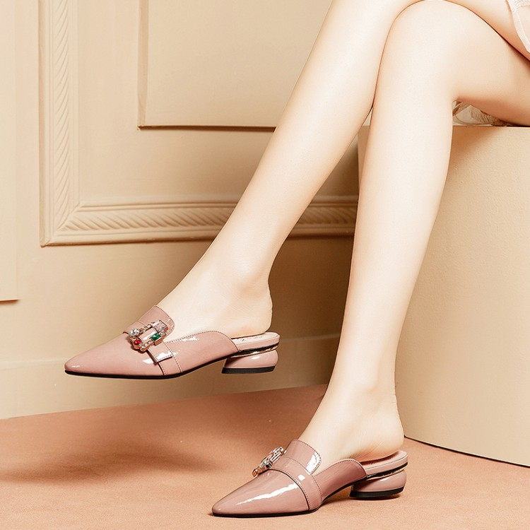 MLJUESE 2019 women slippers Soft Cow leather crystal Rome style pointed toe gray color low heels