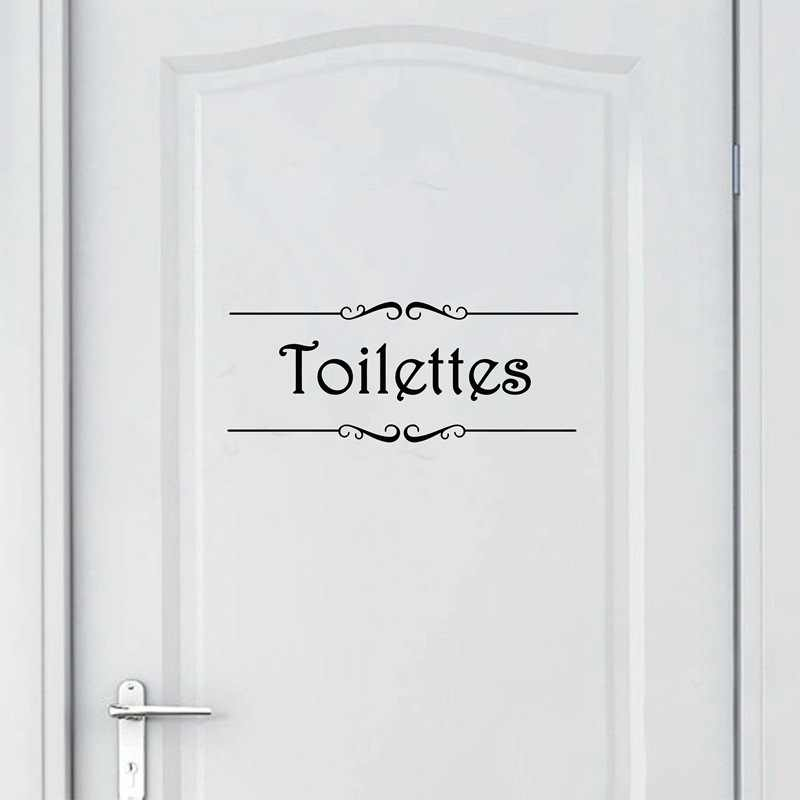 Porte Salle De Bain Et Toilettes Wall Sticker French